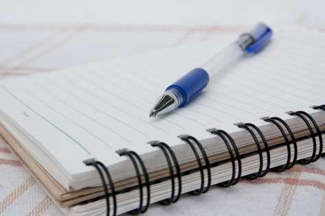 check list, notebook, vet visit